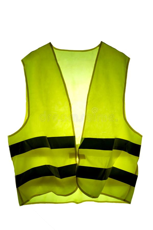 Yellow vest french icon protest isolated on white background with clipping path and copy space for your text. Yellow vest french icon protest isolated on white royalty free stock image