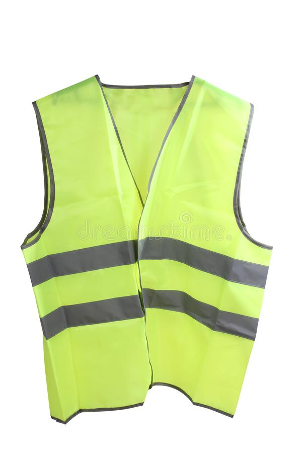 Yellow vest two. Construction hard helmet and yellow vest on white background royalty free stock image