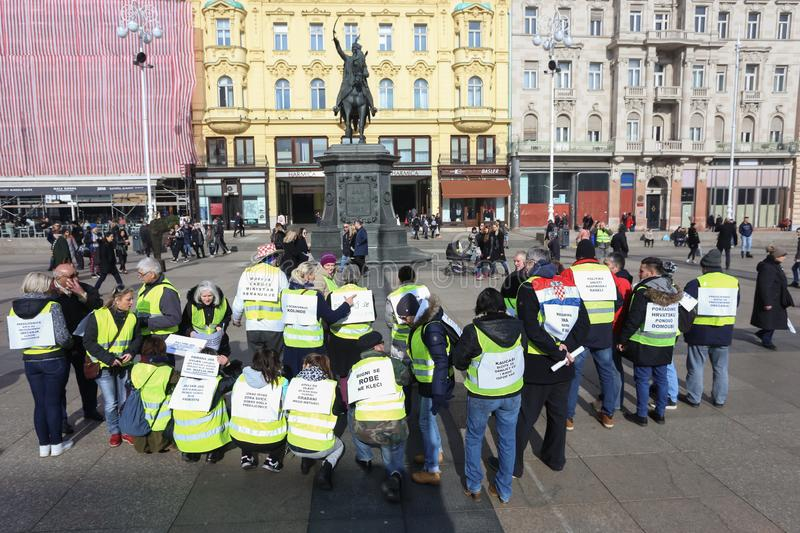Yellow vests demonstrators in Zagreb royalty free stock photography