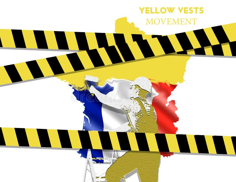 Yellow vests in France. The painter paints a yellow map of France and the text changes on white background royalty free illustration