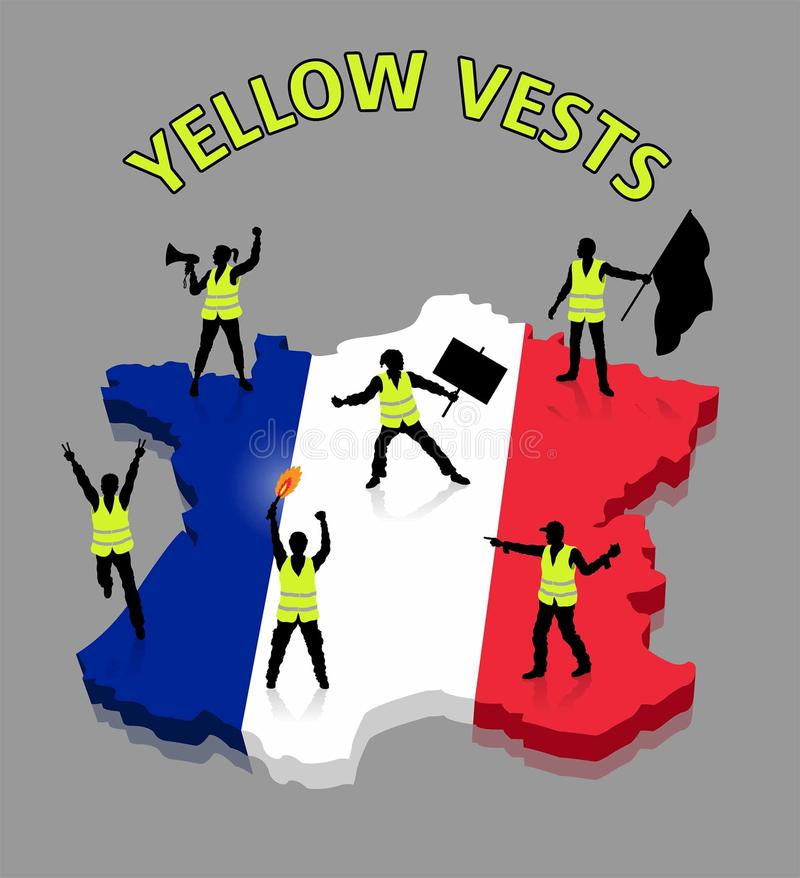 Yellow vests French protesters ower France 3D map royalty free illustration