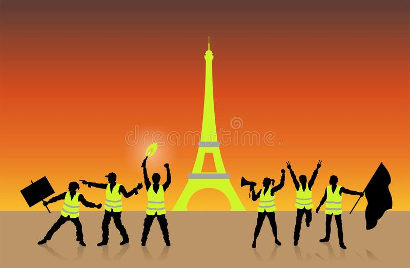 Yellow vests movement in Paris France in front of Eiffel Tower vector illustration