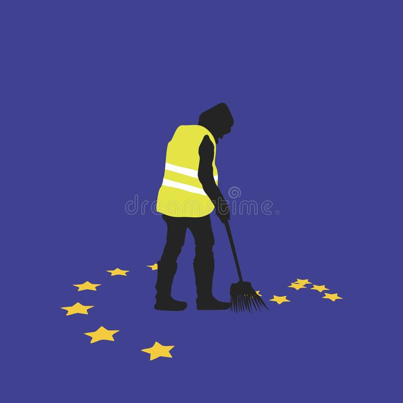 Yellow vests movement in Paris royalty free illustration