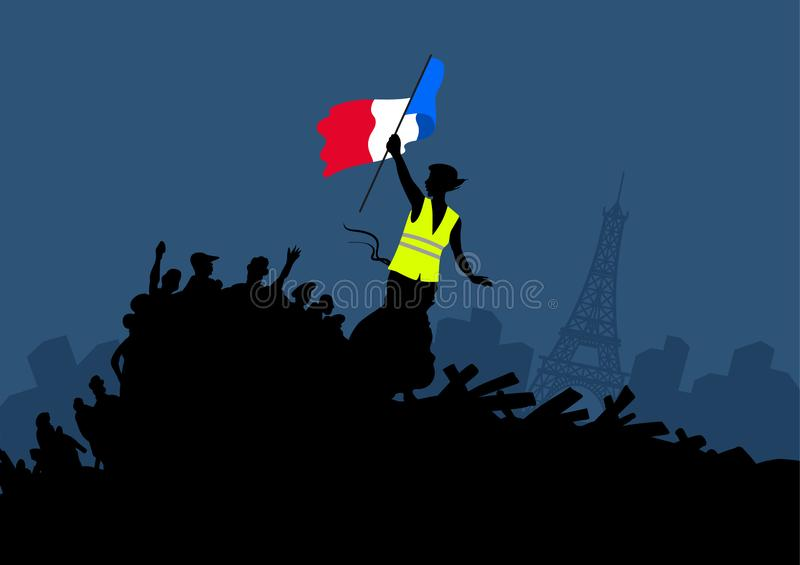Yellow vests protest movement graphics on cityscape and Eiffel tower. Woman freedom and french flag on the barricade. stock illustration