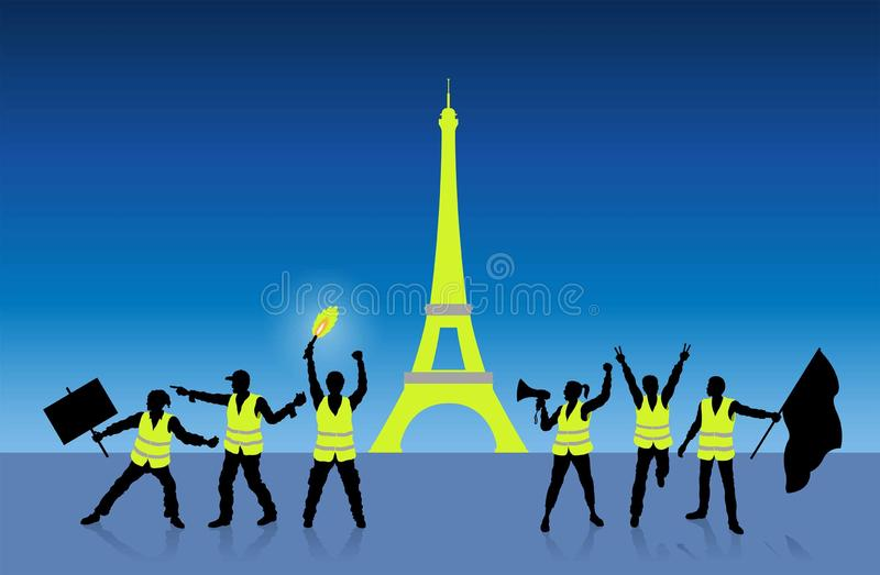 Yellow vests protest in Paris France in front of Eiffel Tower vector illustration