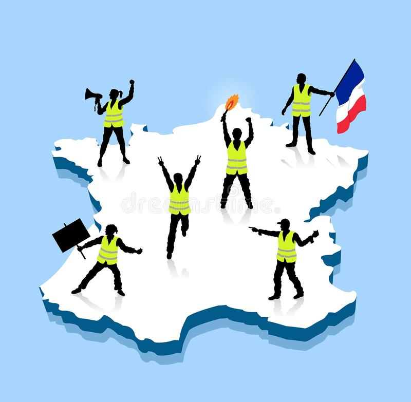 Yellow vests protesters ower France 3D map royalty free illustration