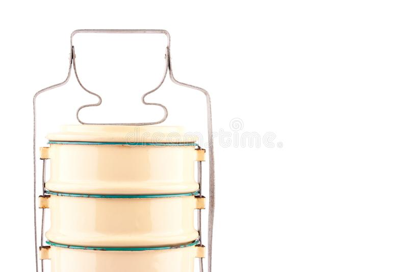 Yellow vintage food carriers close up on kitchenware object background stock image