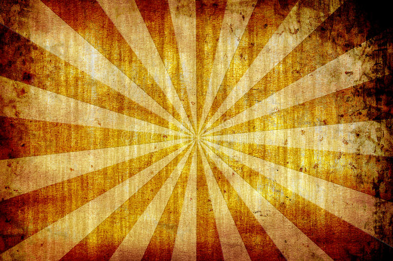 Yellow vintage grunge background with sun rays stock photography