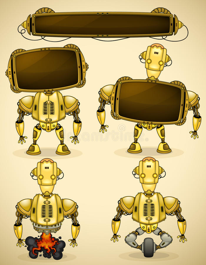Yellow vintage robot devices. Yellow vintage robot with different devices and two displays to insert text vector illustration