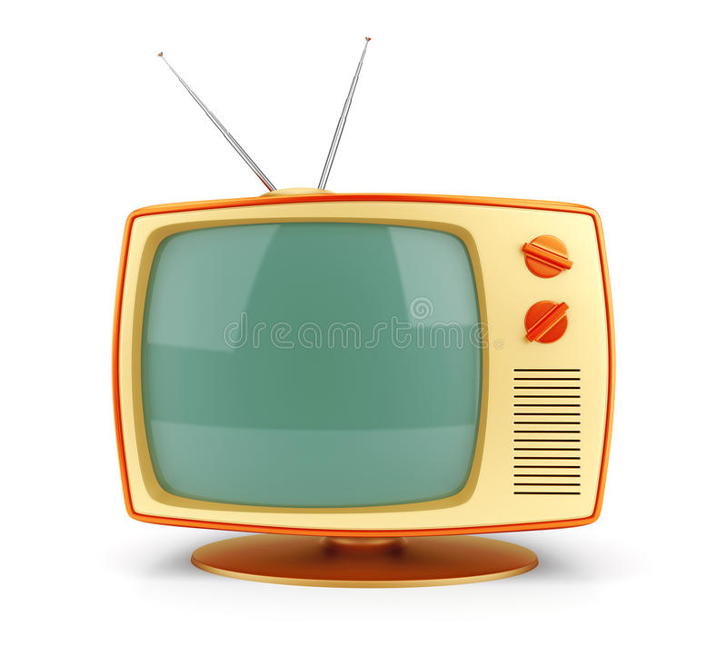 Download Yellow vintage TV set stock illustration. Image of retro - 33989199