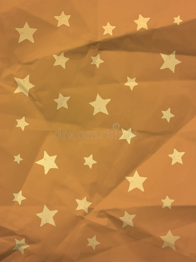 Yellow vintage wrapping paper with stars royalty free stock photo