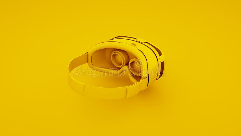 Yellow Virtual Reality Glasses. 3D Illustration.  vector illustration