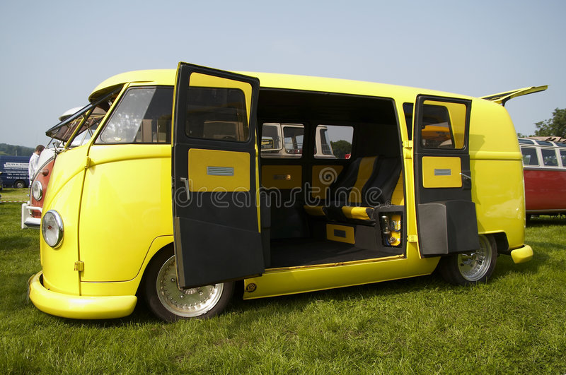 Yellow vw camper stock images