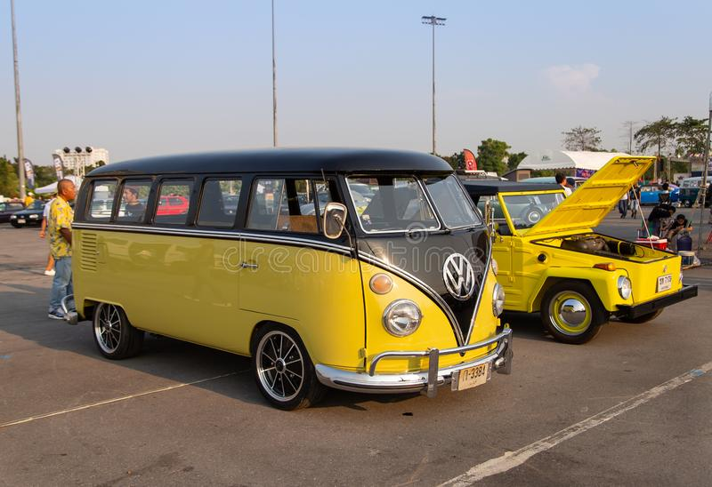 Yellow VW van and VW Type 181 owners gathering at volkswagen club meeting royalty free stock images