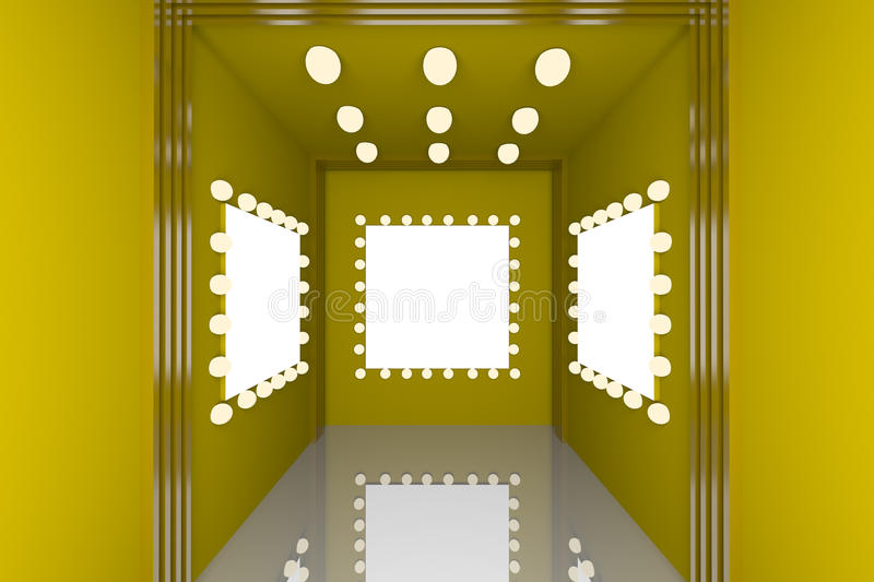 Yellow wall for blank frame stock photography