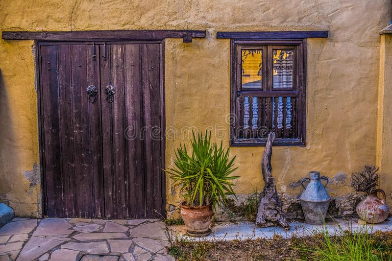 Yellow, Wall, Door, House stock photos