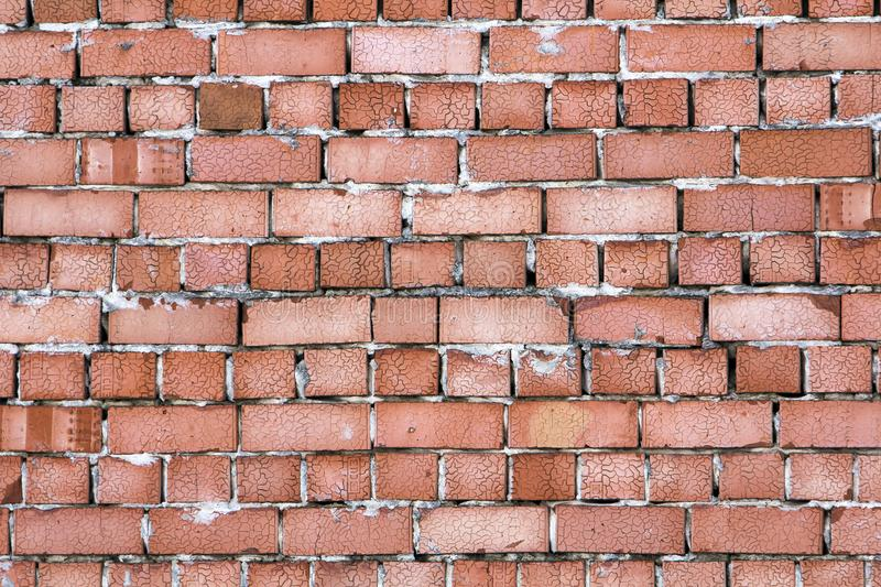 Yellow wall made from bricks for background usage.  stock image