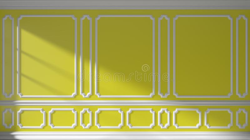 Yellow Wall With Classic Molding Stock Illustration - Illustration ...