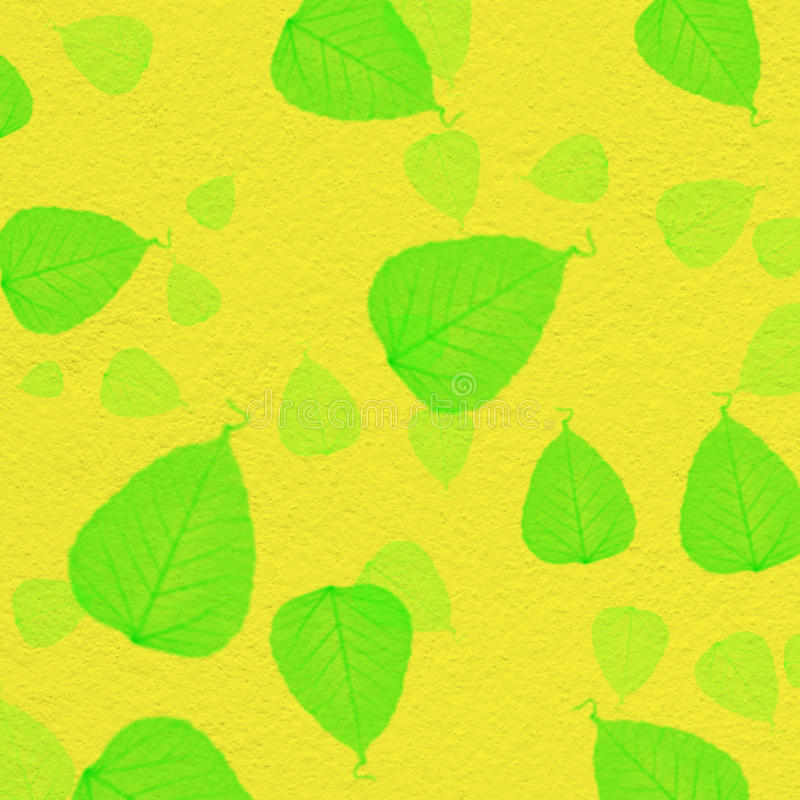 Download Yellow Wall Texture With Green Leaf Paint Stock Photo