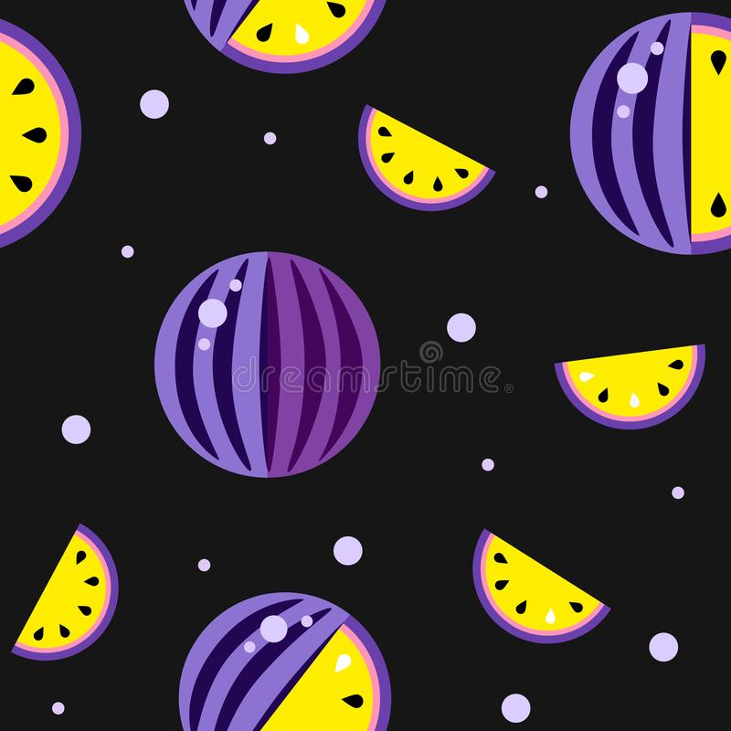Yellow Warermelon Seamless pattern Black background. August 3 International watermelons day poster print. Violet fruit sliced seed stock illustration