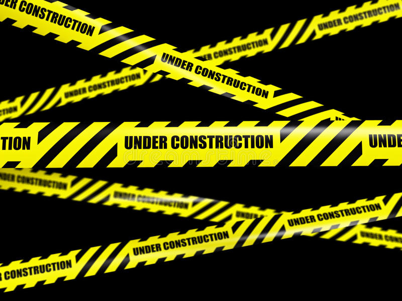 Under Construction Tape Background Yellow Warning Caution...