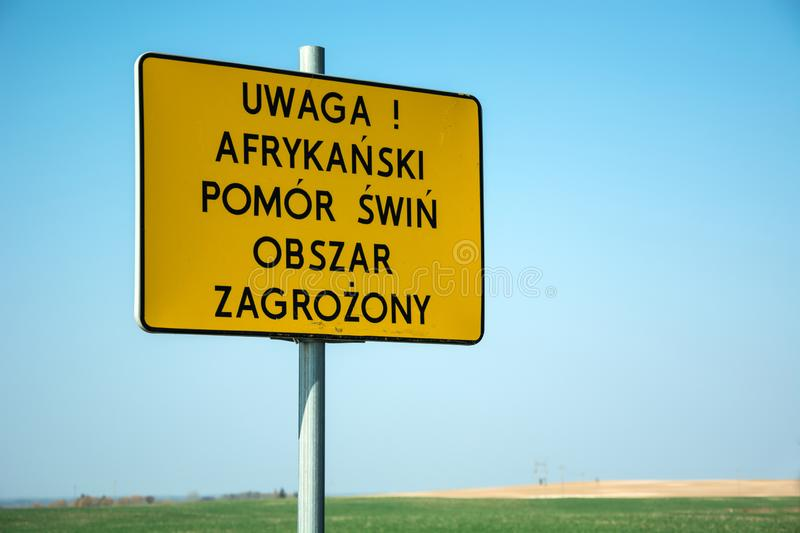 Yellow warning sign - attention, african swine fever stock images
