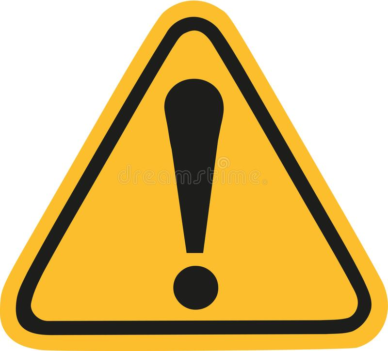 Yellow warning sign with exclamation mark stock illustration