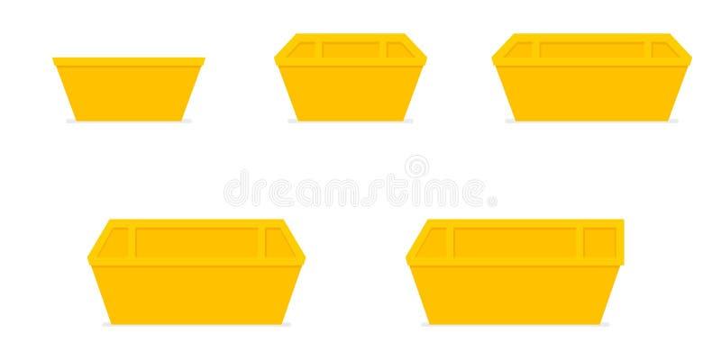 Yellow waste skip bin stock illustration