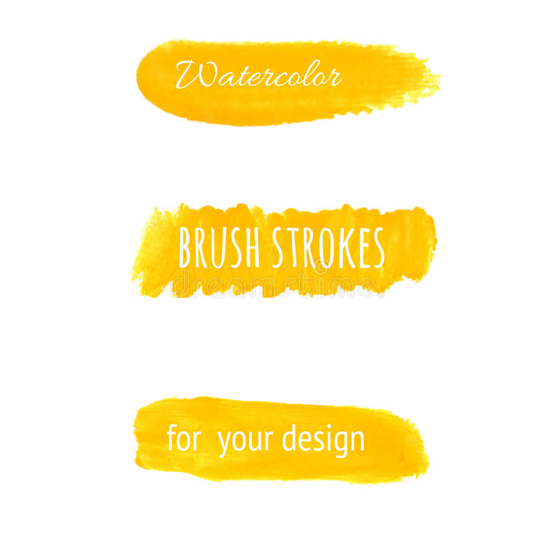 Yellow watercolor brush strokes set. stock illustration