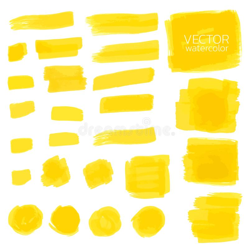 Yellow watercolor brush strokes. Set of Vector brush stock illustration