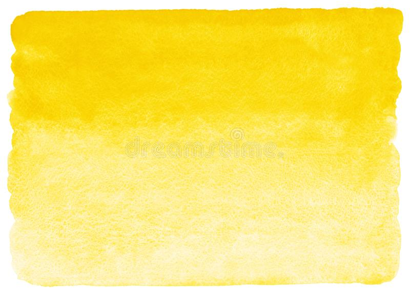 Yellow watercolor horizontal gradient fill. With rough, uneven, rounded edges. Watercolour stains background. Abstract painted rectangle template with paper stock illustration