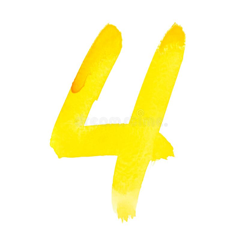 Yellow watercolor numbers royalty free stock photography