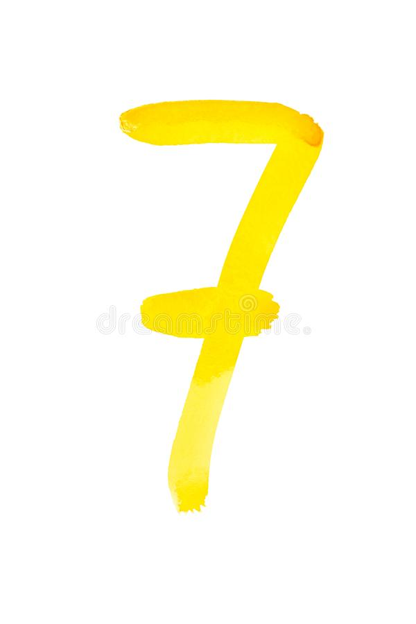 Yellow watercolor numbers. Seven - Hand painted yellow watercolor numbers stock image
