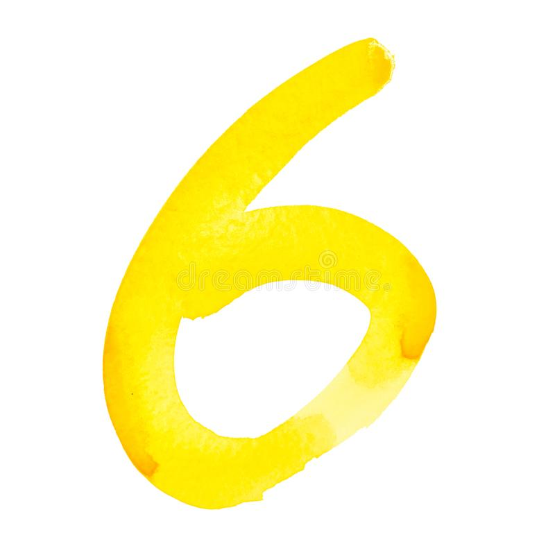 Yellow watercolor numbers royalty free stock photo