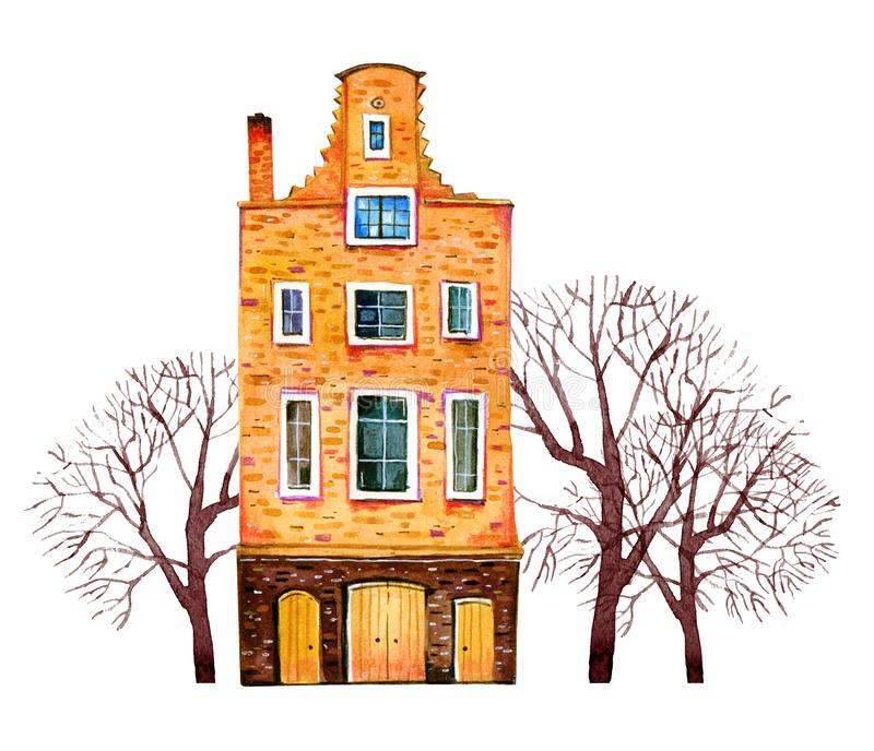 Yellow watercolor old stone europe house. Amsterdam building with trees. Hand drawn cartoon illustration. Isolated on white background royalty free illustration