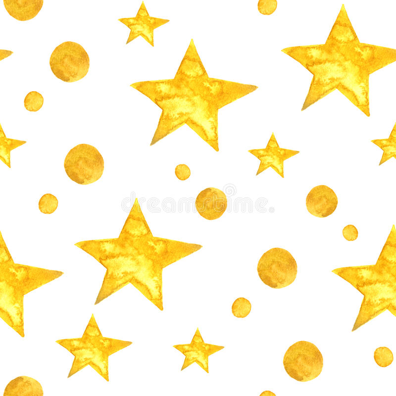 Yellow watercolor stars background. Seamless pattern. Yellow watercolor stars background. Greeting card design royalty free illustration