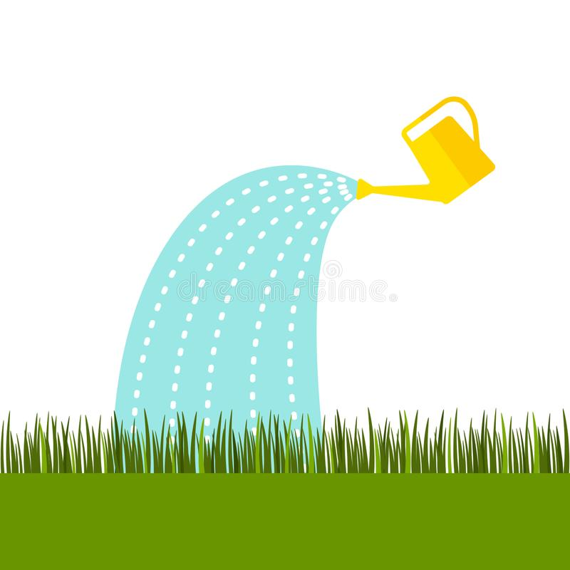 A yellow watering can water the lawn from the green grass. flat vector illustration isolated. On white background stock illustration