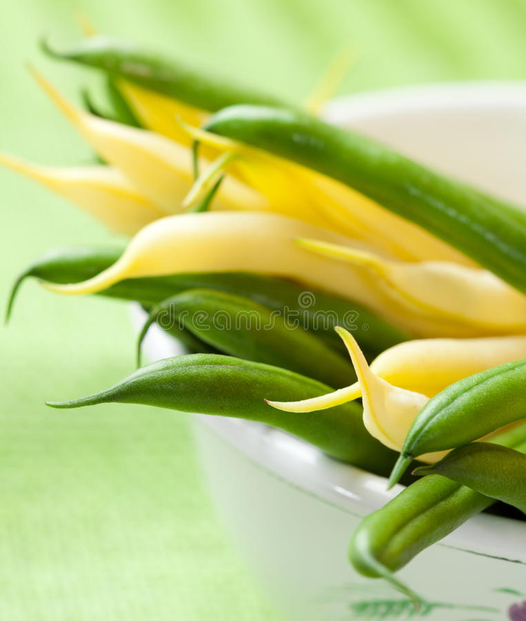 Yellow wax beans and french beans stock photo