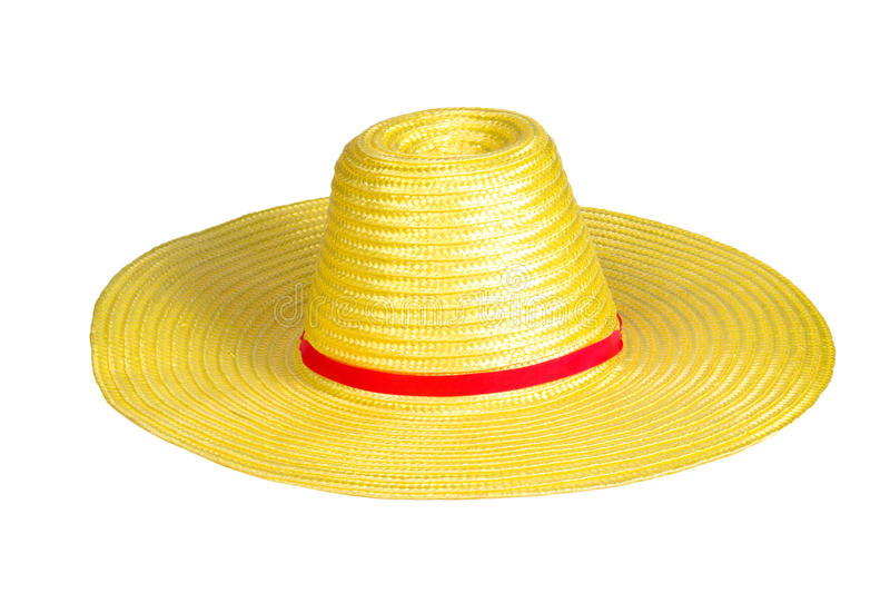 Yellow weave plastic hat royalty free stock photography