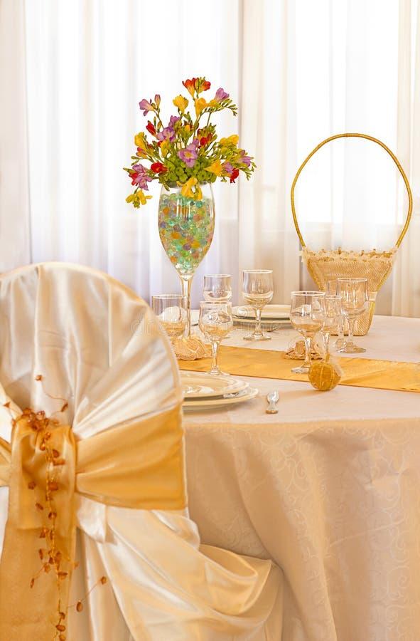 Yellow Wedding table royalty free stock image