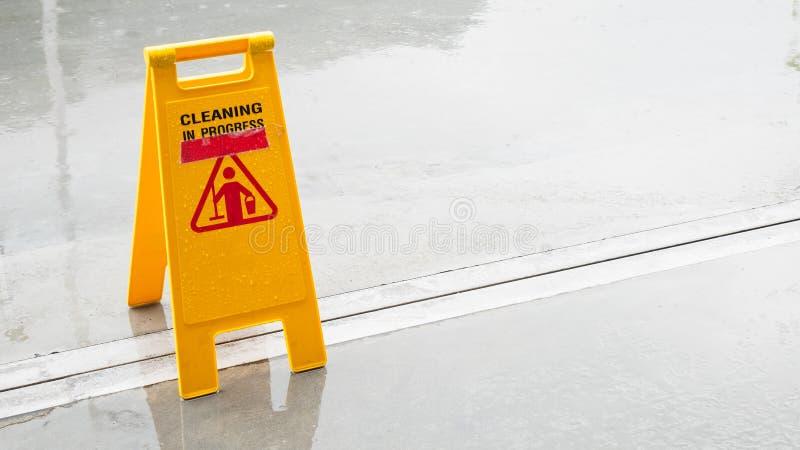 Yellow Wet Floor in rain season. Yellow Wet Floor in rain season stock photo