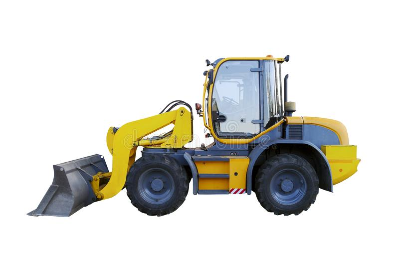 Yellow wheel loader isolated on white. Yellow front loader. Loading shovel. Industrial vehicle. Pneumatic truck. Tractor front loa stock photos