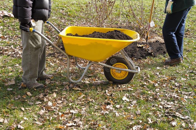Yellow Wheelbarrow stock image