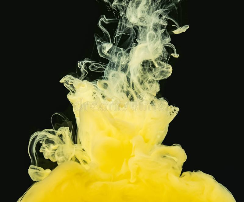 Yellow-white acrylic cloud dissolving into water, isolated on black background, close up view. Ink mixing with liquid stock images
