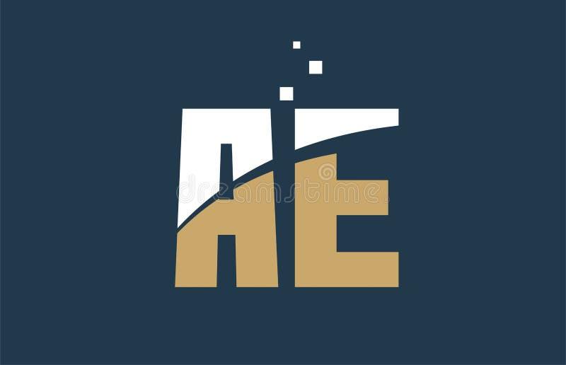 Yellow white blue color alphabet letter combination AE A E for logo icon design. Yellow white blue color alphabet letter AE A E logo combination design suitable stock illustration