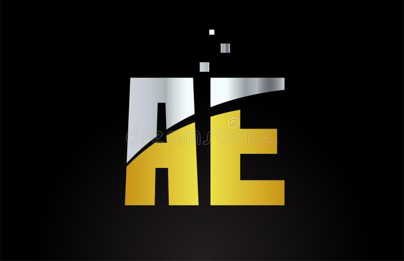 Yellow white blue color alphabet letter combination AE A E for logo icon design. Yellow white blue color alphabet letter AE A E logo combination design suitable vector illustration
