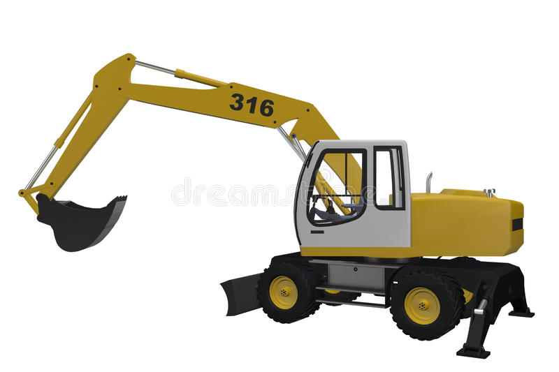 Yellow And White Digger Royalty Free Stock Photography
