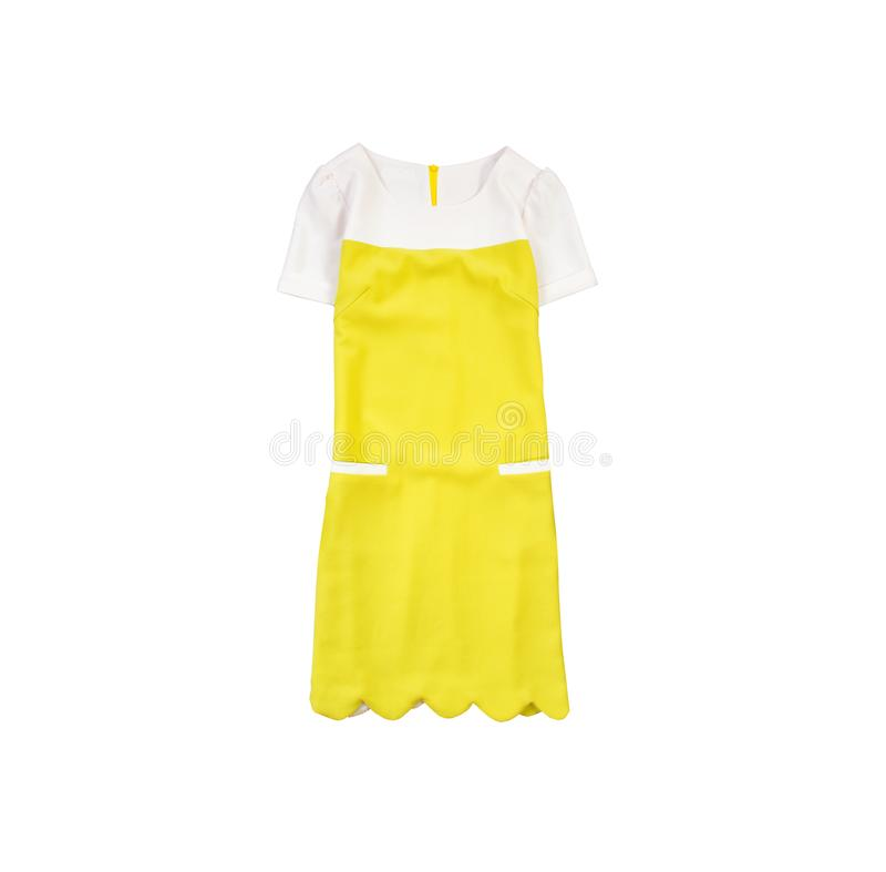 Yellow and white dress. Fashionable concept. Isolated. White background.  royalty free stock photo