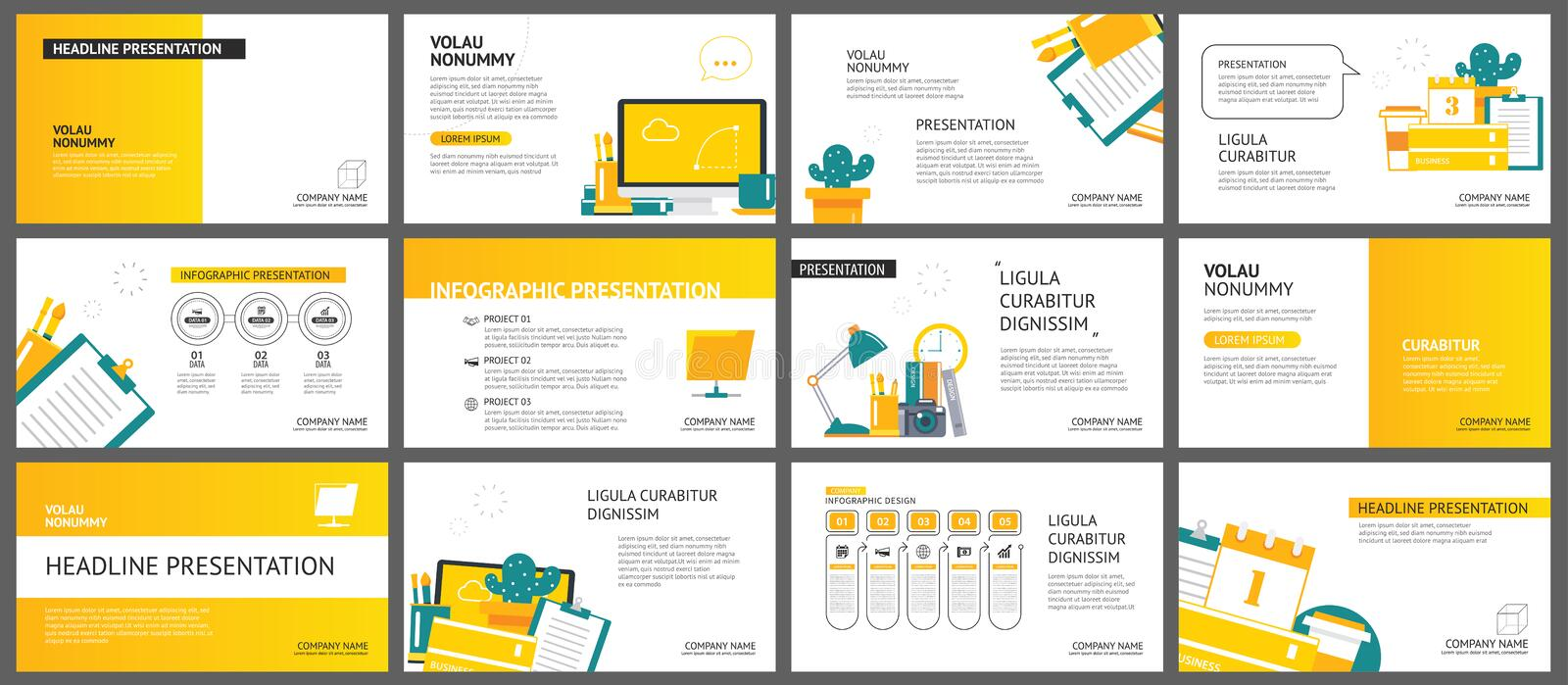 Yellow and white element for slide business office background. P vector illustration