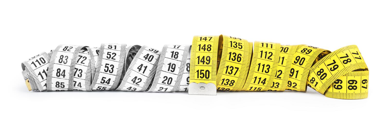 Yellow and white measuring tape royalty free stock images